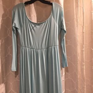 Light blue off the shoulder long dress